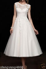 New White/Ivory Tea Length Short Lace Vintage Wedding Dress Bridal Gown Size6-16