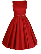 Hepburn Style Dress Red 1950's 1960's Rockabilly Swing Evening Pinup Prom Retro