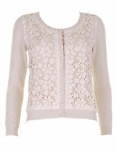 New Bargain Lady Cardigan Taupe colour lace and bead front sizes S,M,L RRP 59.95
