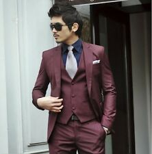 New Wine red Men's Fashion Dress Casual Business Suit One Button Slim Fit Suit