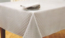 BELLA LUX WHITE SILVER SHIMMER SPARKLE DOTS 60X102 TABLECLOTH