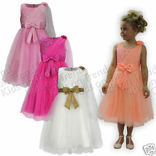 Girls Flower Girl Dress Bridesmaid Pageant Party Kids Formal Wear 2-13 Years New