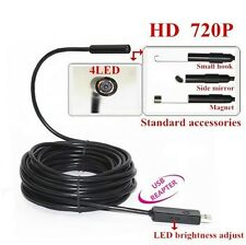HD 720P USB snake pipe endoscope lens 4 LED Waterproof inspection Camera 5-10m