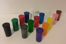 NEW 12 RX 19 DRAM MEDICAL POP TOP PILL BOTTLE JAR STORAGE CONTAINER 15 COLOR USA