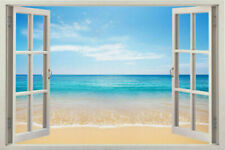 NEW 3D Window Scape Instant Graphic Mural View Beach at Dusk Wall Decal Sticker