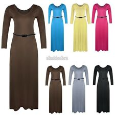 NEW SOLID MAXI DRESS Basic Round Neck Long Sleeve Summer Long Dress With Belt