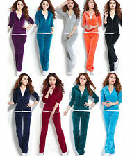Womens Velour Hoodie+Pant Tracksuit Sport Yoga Running Sweat Suit S-4XL 13 Color