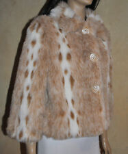 WOMENS UK MADE ANIMAL SNOW LYNX FAUX FUR EVENING FAUX FUR JACKET NEW SIZE 8 - 12