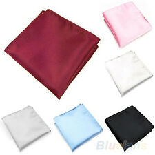 Men Wedding Party Square Satin Pocket Hanky Solid Color Hankerchief B8BU