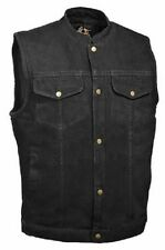 MENS BLACK DENIM CLUB VEST- WITH GUN POCKETS - SOA STYLE - FREE SHIPPING !!