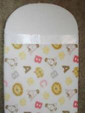 "BASSINET BLANKET-FITTED / FLEECE PRINT-NURSERY ANIMALS ABC's &PAWPRINTS- 27""long"