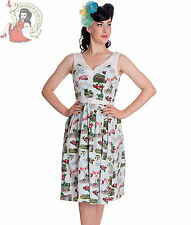 HELL BUNNY 50's retro SOUVENIR tropical day DRESS PALE BLUE