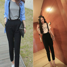Women's Cotton Blends Casual Bib Overalls Long Pants High Waist Trousers Black
