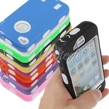 Hybrid Heavy Duty Rubber Silicone Armor Tough Hard Case Cover For iPhone 4 4S