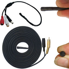 SENSITIVE CCTV MICROPHONE FOR SECURITY CAMERA DVR SOUND AUDIO RECORDING + CABLE