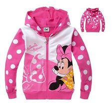 Hot Minnie Mouse Kids Girls Pink Long Sleeve Zip-up Funny Hoodies Aged 2-8years