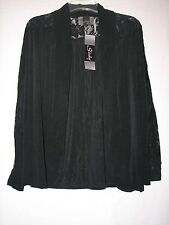 NWT Slinky Brand Black Open Front Cardigan with Black Lace