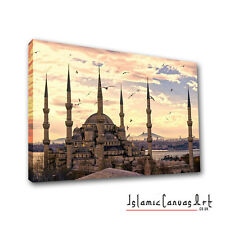 The Blue Mosque In Turkey Islamic Canvas Wall Art Wide Panoramic Angle Ottoman