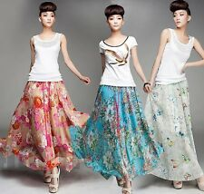 Women Chiffon Floral Print Pleated Retro Maxi Long Skirt Elastic WaistBand Dress