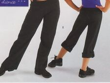 NWT CONVERTIBLE DANCER PANTS BLACK CAPRI converts to JAZZ pants Adult/Child Szs