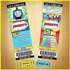 12 Printed Custom Thomas Train Birthday Tickets Invitation card W/Envelopes
