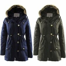 Womens Faux Fur Hooded Jackets Ladies Quilted Padded Parka Military Coats 8 - 14