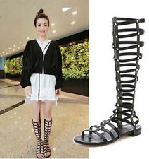 New Europe Strappy Knee High Open Toe Gladiator Zipper Closure Flat Sandals