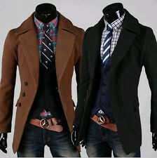 Mens Casual Stylish Trench Coat Winter Jacket Outerwear Overcoat Black/Coffee