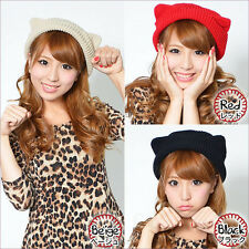 Winter Knit Cat Ear Cap Orecchiette Devil Horn Hat Colors Beanie Autumn