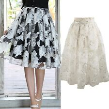 Elegant Women Vintage Gilr High Waist Pleated Elastic Organza Short Mini Skirt