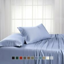 """Queen-Size Super Soft 4PC Bamboo Sheet Set, 100%Viscose From Bamboo & 18"""" Pocket"""