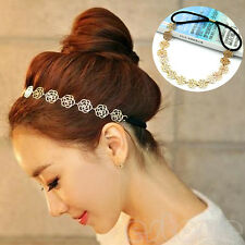 New Vintage Lovely Metallic Lady Hollow Rose Flower Elastic Hair Band Headband