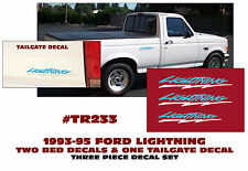 TR233-BLWH 1993-95 FORD F-150 LIGHTNING TRUCK - SIDE BED/TAILGATE DECALS - THREE