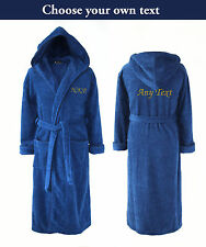 Personalised Hooded Towelling Bathrobe / Dressing Gown - Blue with Spiral Cord