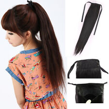 New 100% Remy Virgin Human Hair Long Straight Ponytail Pony Clip in Extensions