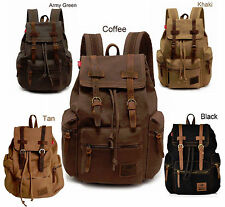 Retro Vintage Canvas Backpack Rucksack School Laptop Satchel Hiking Shoulder Bag