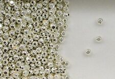 Sterling Silver Beads, 3mm Faceted Round Design, New