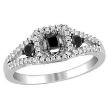 1 CT. T.W. Black and White Diamonds Cocktail Ring in Sterling Silver Cocktail...