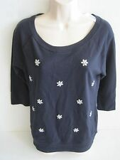 BANANA REPUBLIC Women's Navy Embellished 3/4 Sleeve Knit Pullover Size XS-L NWT