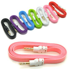 New 3.5mm Male M/M Flat Stereo Audio Jack AUX Cable Cord for PC iPhone iPod MP3