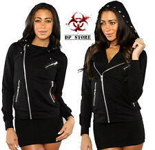 TRIPP MOTO BIKER GOTHIC PUNK ROCK ROCKABILLY Oi SPIKE HOODIE JACKET BLACK FT2379