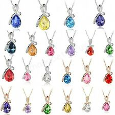 Charms Fashion Lady Women's Tear Drop Style Crystal Necklace Pendant