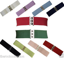 Hell Bunny 50's Retro Belt Vintage Waist Elasticated Silver Clasp in 10 Colours
