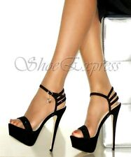 WOMENS LADIES HIGH HEEL ANKLE STRAP SEXY BLACK DIAMANTE ENCRUSTED PARTY SHOES