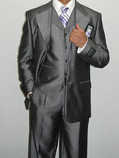 Men's 3 Piece Business Suit Vested Semi Wide Leg Shinny Big & Tall 0796-10 Gray