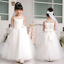 New White/Ivory Flower Girl Dress Pageant Wedding Bridesmaid Dance Party 4-10T