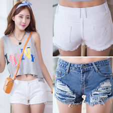 QAE213 Women Denim Short Jeans Girls Tassel Hole Casual Hot Pants 4 6 8