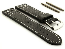 New Mens Genuine Leather Riveted Watch Strap Band Harley D. Style