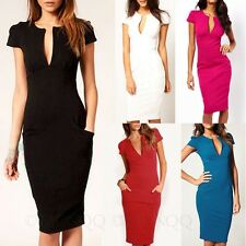 Knee Length Office Bodycon Shift Midi Dresses Bandage Plunge Dress Sz 10 12 14 8