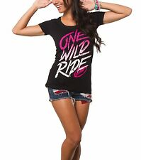 """FMF Racing """"Fade Out"""" Womens T-Shirt One Wild Ride Scoop Neck Pink Tee NWT Top"""